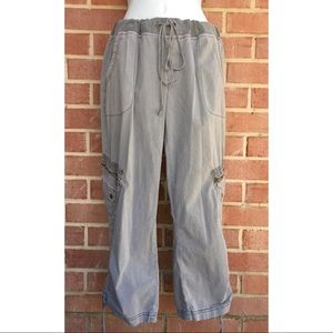 XCVI Drawstring Cinch Leg Cargo Crop Pants